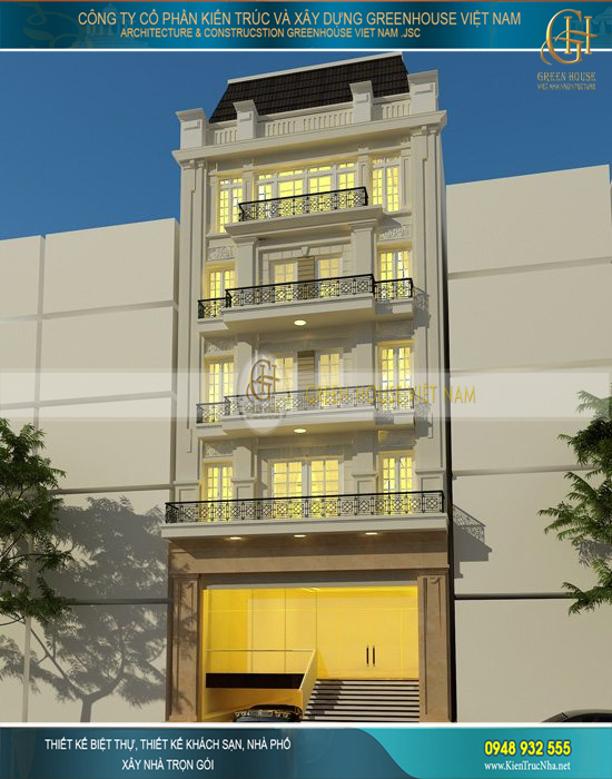 Nhà ống kinh doanh khách sạn 6 tầng mặt tiền 9m cổ điển