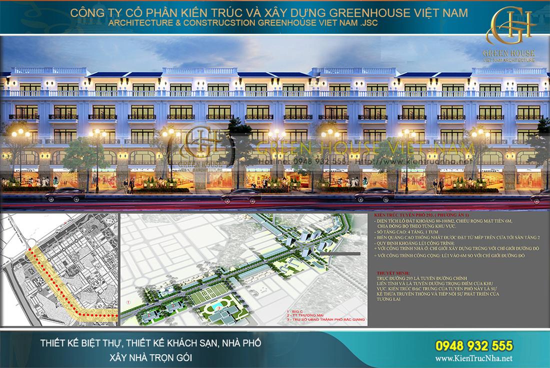thiết kế tuyến phố shophouse bắc giang