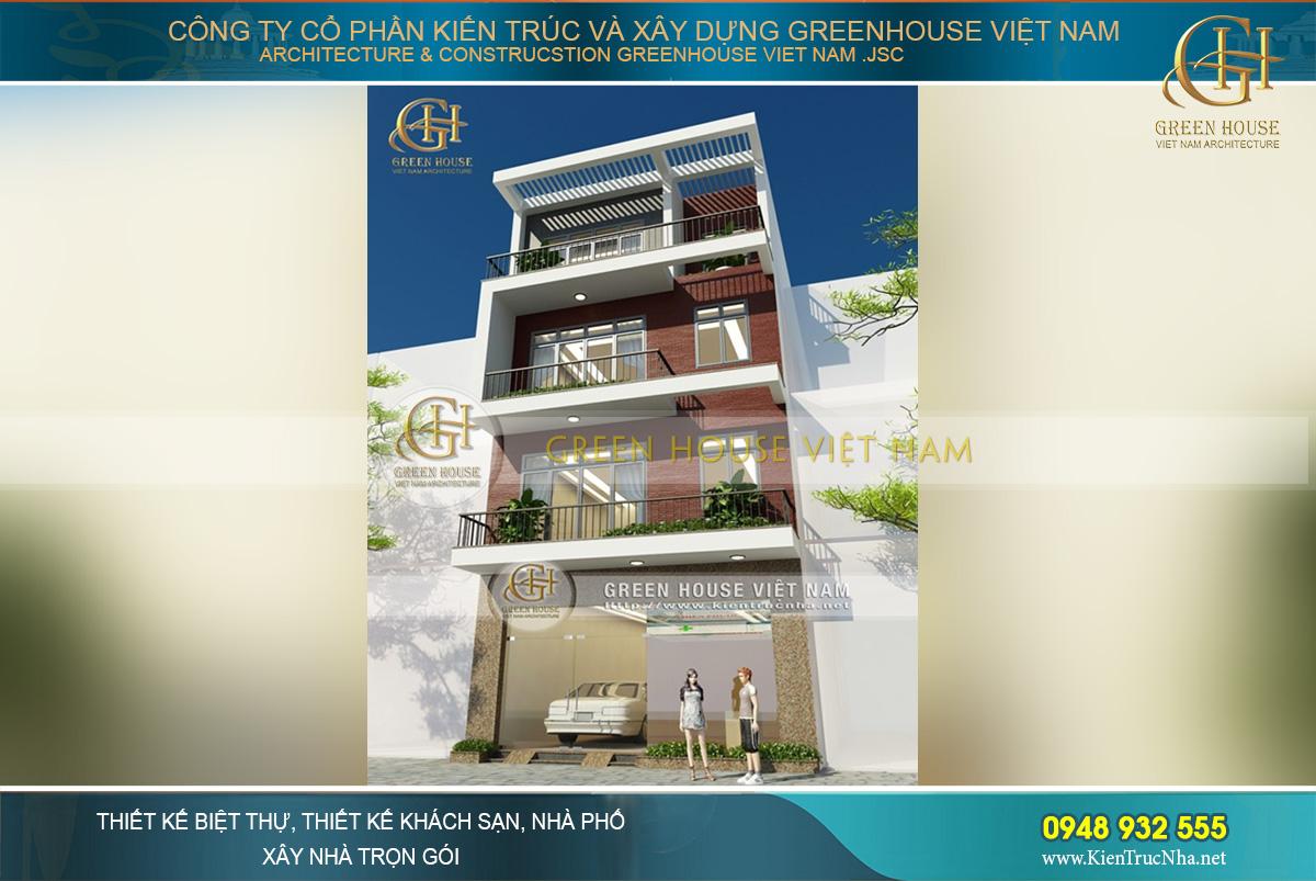 thiết kế nhà phố 4 tầng 108m2