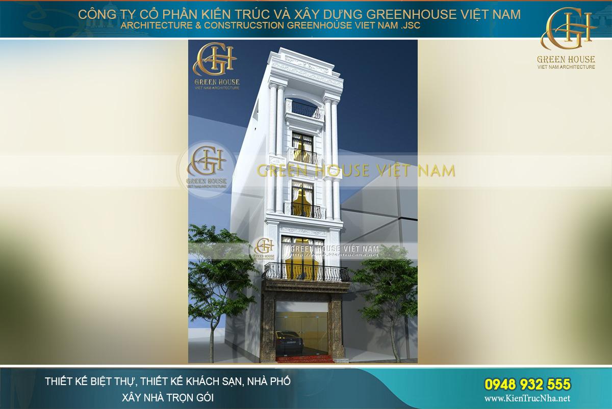 thiết kế nhà phố 5 tầng tân cổ điển