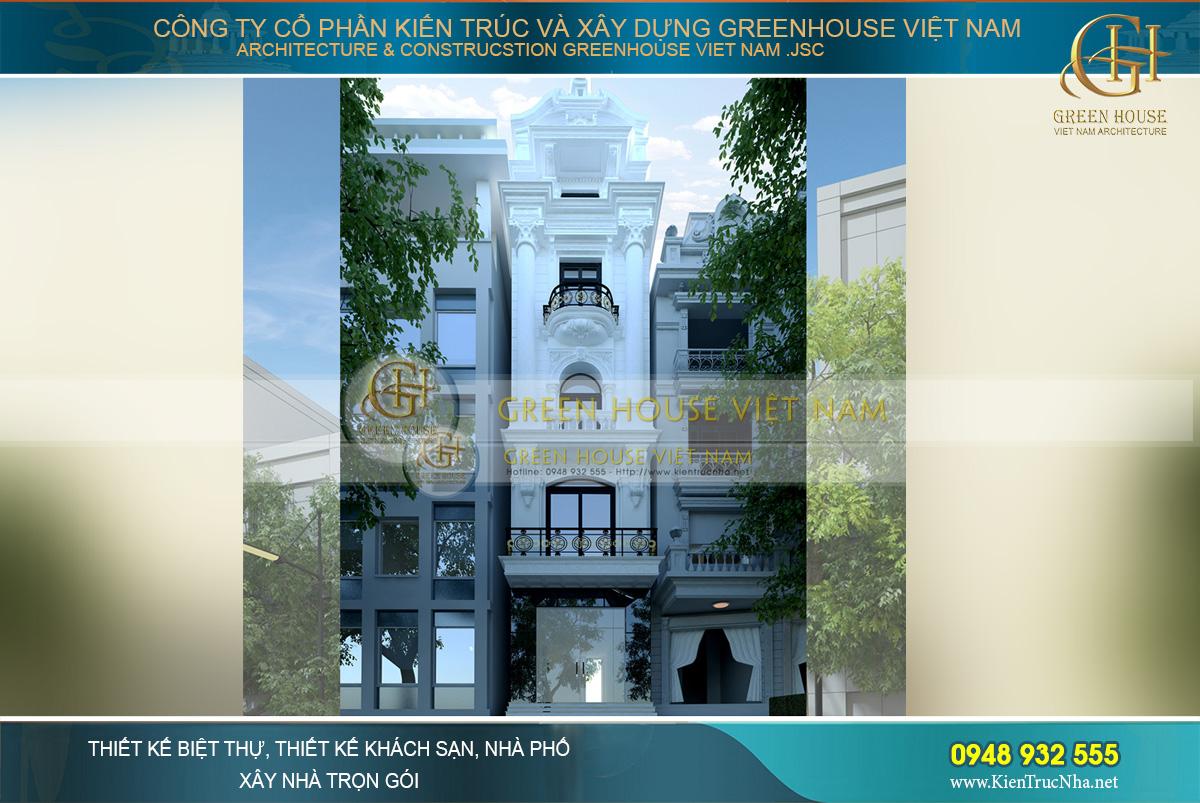 nhà phố kết hợp kinh doanh 5 tầng tân cổ điển
