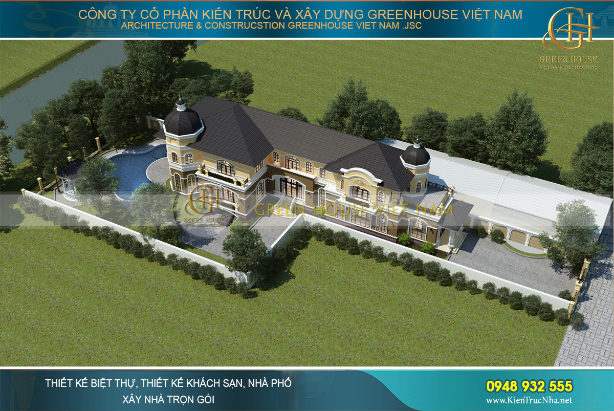 thiết kế biệt thự tân cổ điển có bể bơi