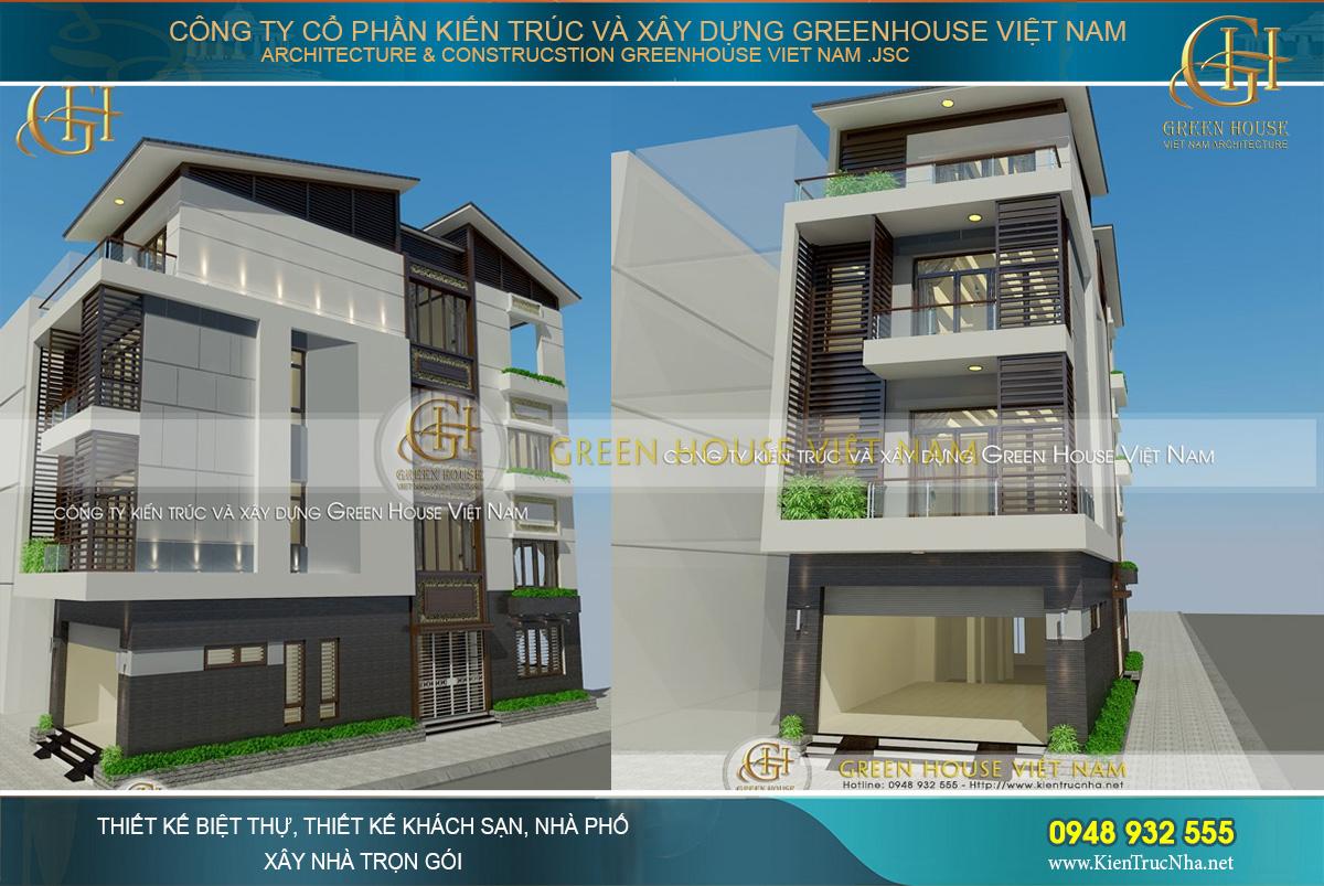 nhà phố 4 tầng 2 mặt tiền hiện đại