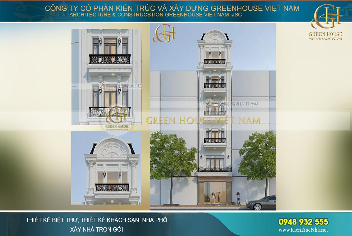 nhà phố kết hợp kinh doanh 6 tầng tân cổ điển