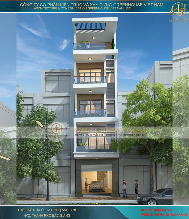 thiết kế nhà phố 5 tầng hiện đại