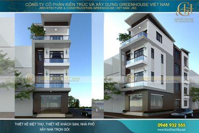 thiết kế nhà phố kết hợp kinh doanh 4 tầng