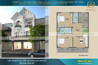 thiết kế nhà phố kết hợp kinh doanh 3 tầng tân cổ điển