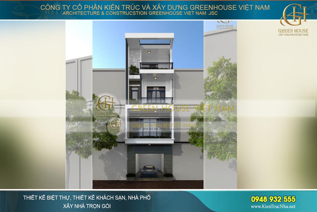 thiết kế nhà phố 4 tầng mặt tiền 5m hiện đại