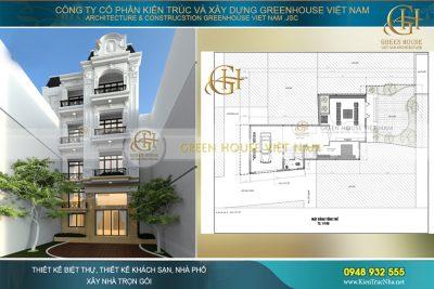 thiết kế nhà phố 5 tầng tân cổ điển trên khu đất méo