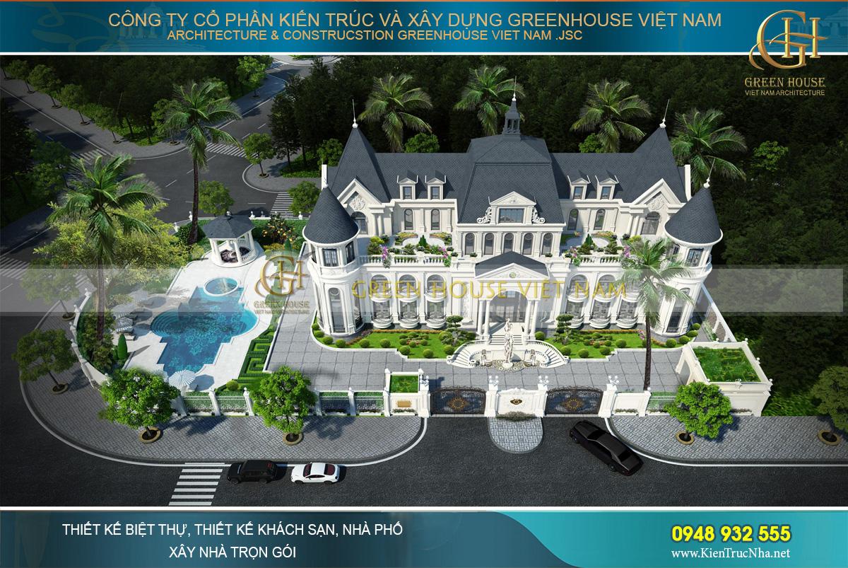 thiết kế dinh thự tân cổ điển có bể bơi