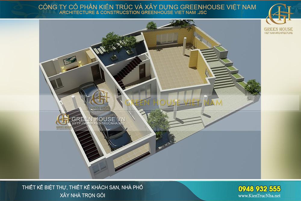 thiết kế biệt thự sân vườn 4 tầng