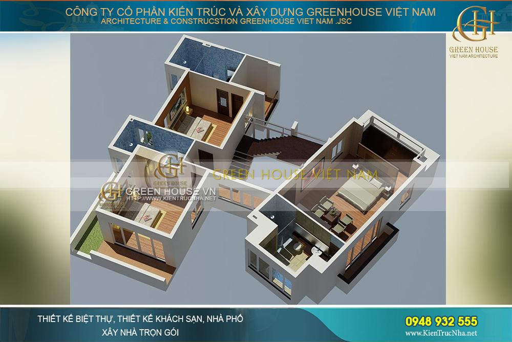 Không gian tầng 2 với phòng khách rộng rãi và hiện đại, phòng ăn và bếp được bố trí bên khối kiến trúc bên kia phòng khách