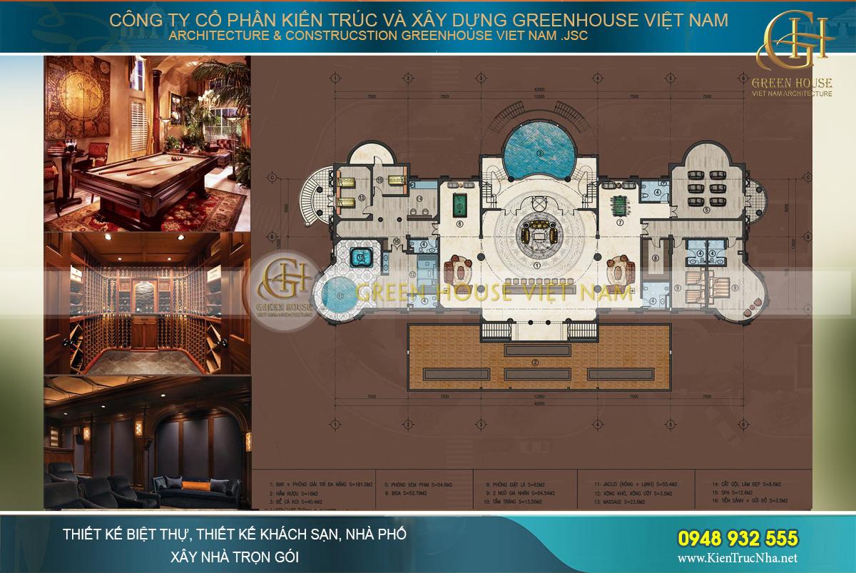 Tầng bán hầm của Dinh thự Rạng Đông sở hữu thiết kế độc đáo, ngay chính giữa là phòng giải trí với điểm nhấn là một bể cá Koi cao cấp ngay chính sảnh tầng, gần lối thang lên tầng 1. Tiếp đến là không gian đa năng với diện tích lớn bố trí các bàn trò chơi, Bar rượu lớn liền kề với hầm rượu của gia đình. Tiếp nối là khu spa chăm sóc sức khỏe với bể sục, khu xông hơi, bể tắm Jacuzzi, massage, trang điểm... trang bị đầy đủ các thiết bị cao cấp. Khối Spa được thiết kế lối đi riêng lên khu bể bơi và sân vườn rộng, thuận tiện cho các thành viên hay khách của gia đình sử dụng.