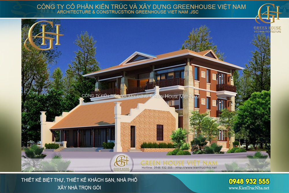 thiết kế biệt thự Á Đông 3 tầng hiện đại