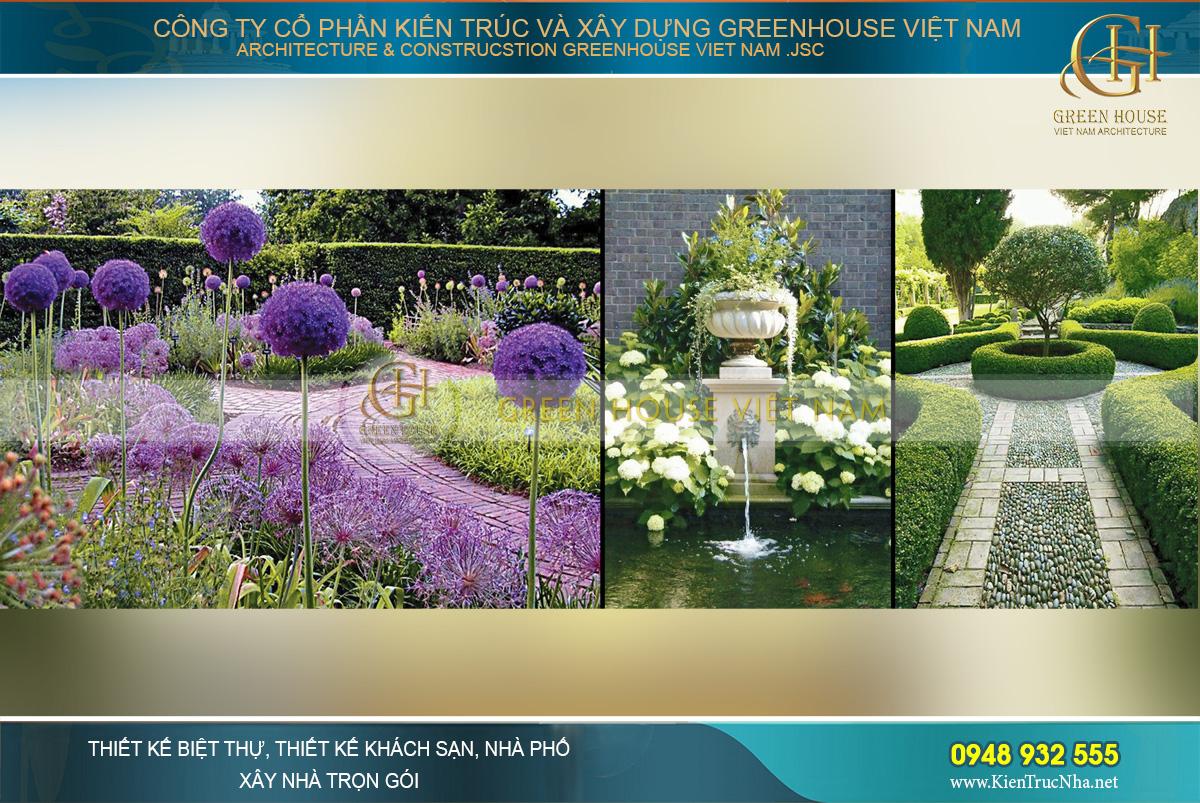 cảnh quan thiên nhiên sân vườn của biệt thự tân cổ điển