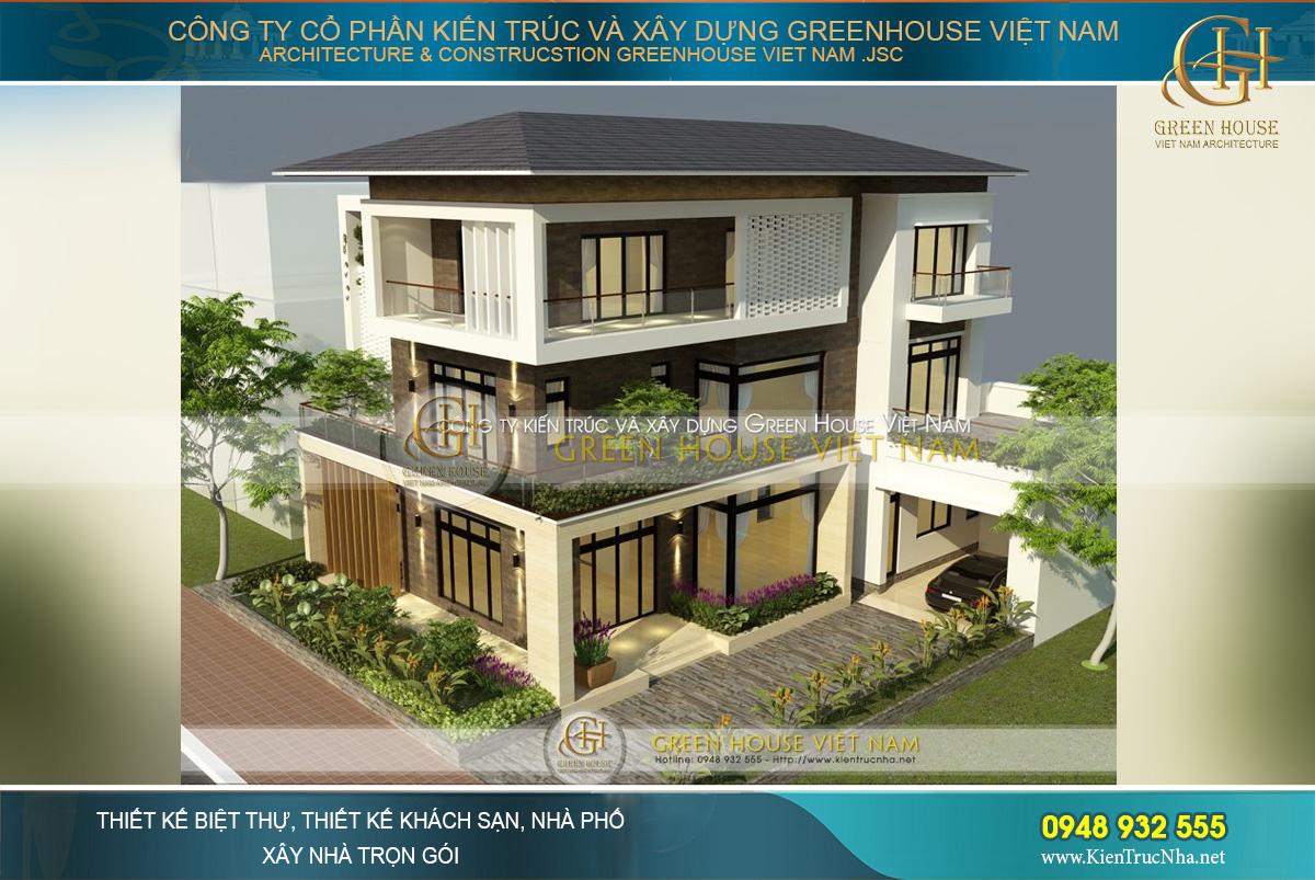 thiết kế biệt thự hiện đại 3 tầng mái thái đẹp