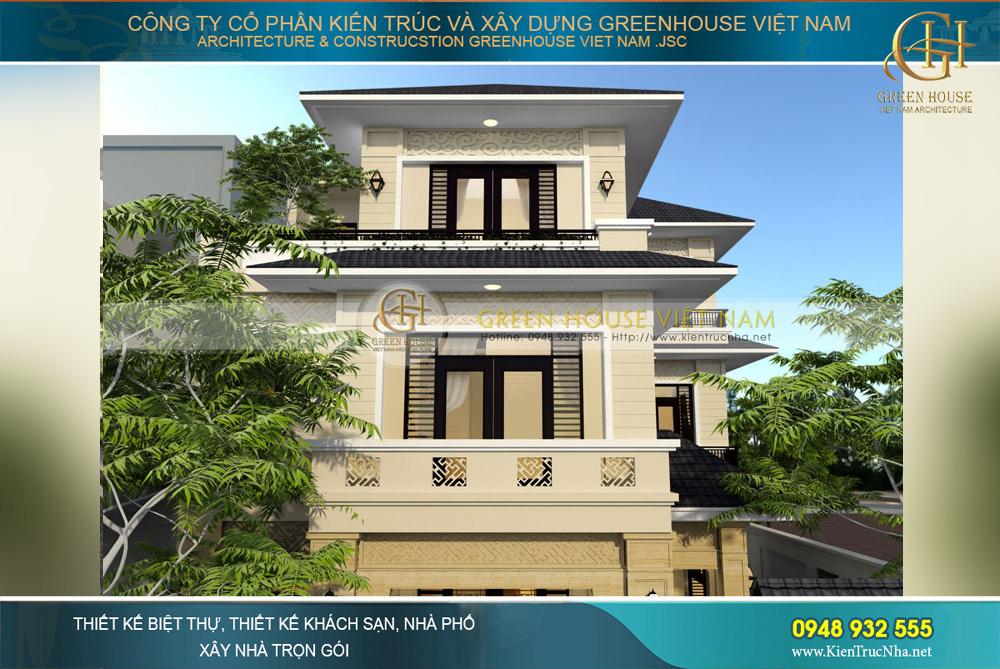 thiết kế biệt thự hiện đại 3 tầng hình chữ L