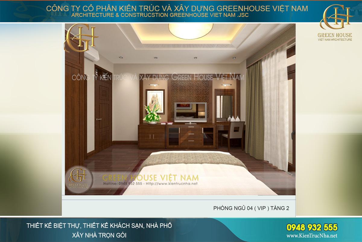 Phòng khách được thiết kế nội thất sang trọng với những chi tiết tinh xảo bắt mắt. Bộ bàn ghế tiếp khách rộng lớn được làm hoàn toàn bằng gỗ tự nhiên nguyên khối, đơn giản nhưng đẳng cấp. Chi tiết vách ti vi, kệ tủ, ốp trần đồng bộ, tạo nên một không gian hoàn hảo.