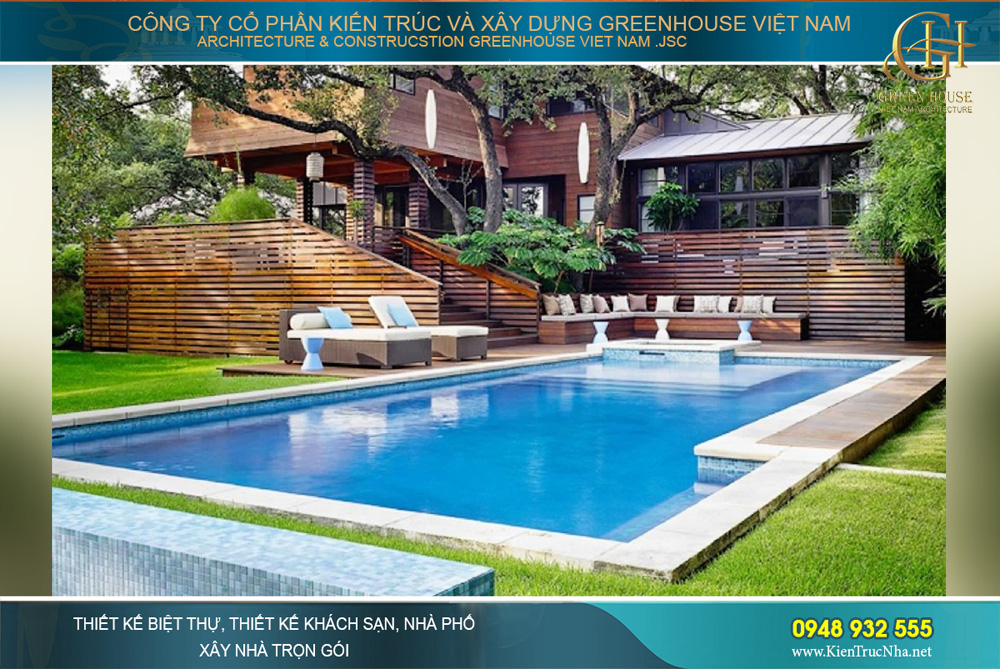 thiết kế hồ bơi cho biệt thự thuận phong thủy