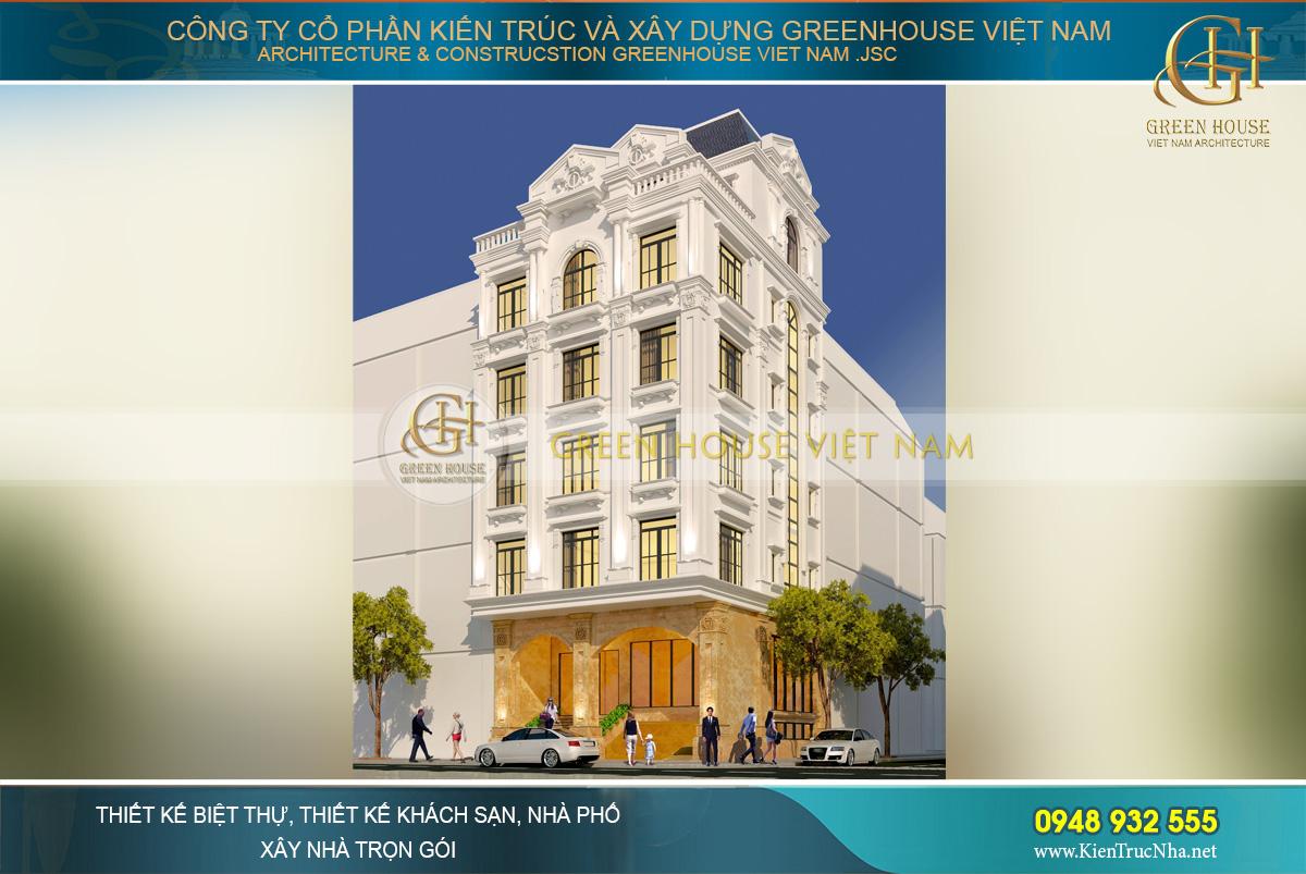 thiết kế biệt thự phố tân cổ điển 5 tầng tại Hà Nội