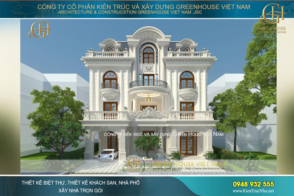 thiết kế biệt thự tân cổ điển 3 tầng bắc giang