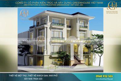 thiết kế biệt thự tân cổ điển 4 tầng Hà Nội