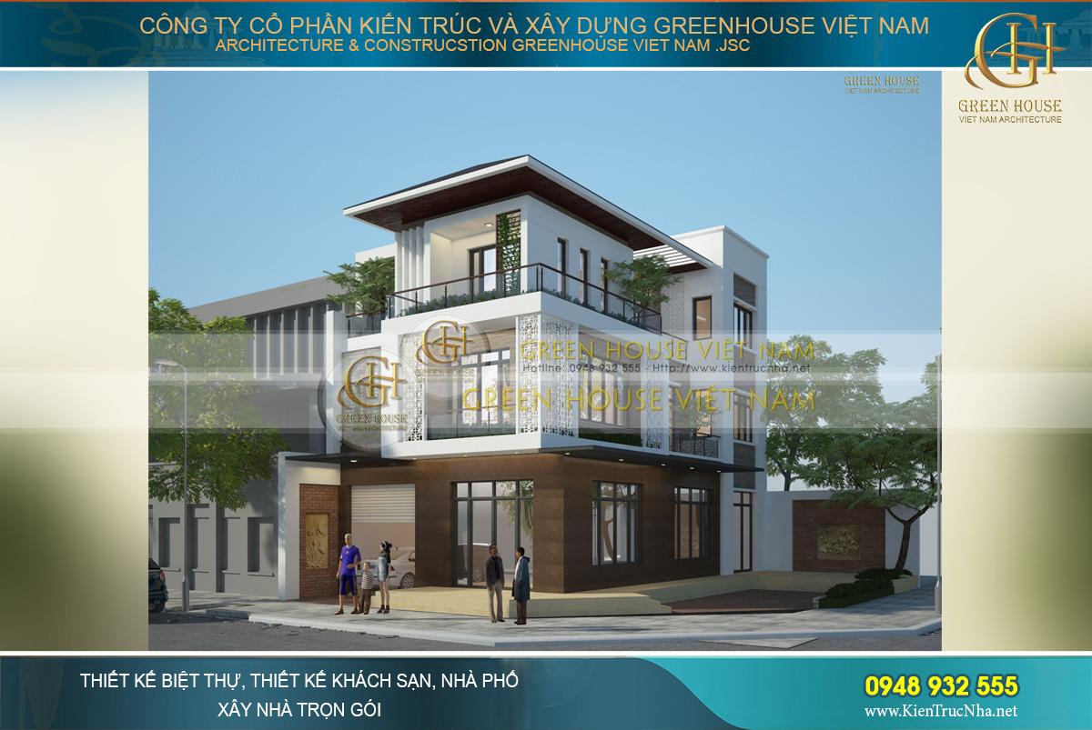 thiết kế biệt thự phố hiện đại 3 tầng tại Hà Nội