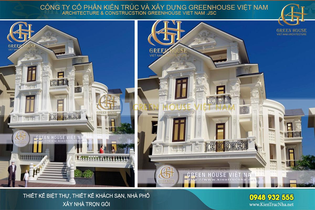 thiết kế biệt thự 4 tầng phong cách cổ điển tại hà nội