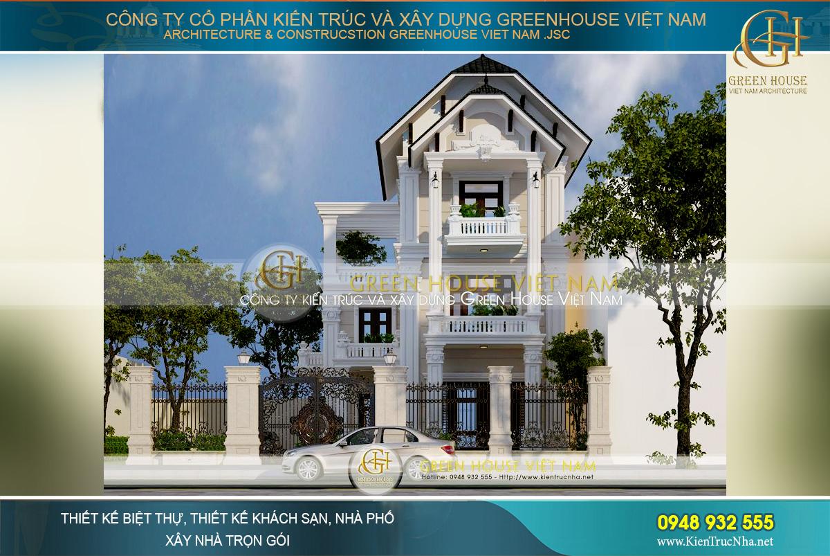 thiết kế biệt thự tân cổ điển 3 tầng hà nội