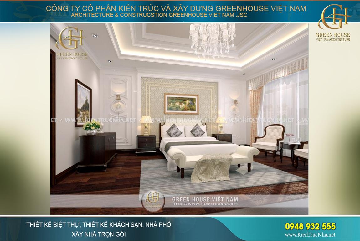 Các không gian phòng ngủ cho các thành viên trong gia đình đều được nghiên cứu kĩ lưỡng. Phòng ngủ không đơn thuần là nơi để ngủ, nó là không gian riêng cho mỗi thành viên gia đình thể hiện được cá tính và nhu cầu sinh hoạt riêng tư của từng người. Chính vì vậy mà các kiến trúc sư của Green House Việt Nam đã tham khảo ý kiến riêng mỗi thành viên để tạo nên một không gian nội thất đặc biệt phù hợp nhất.