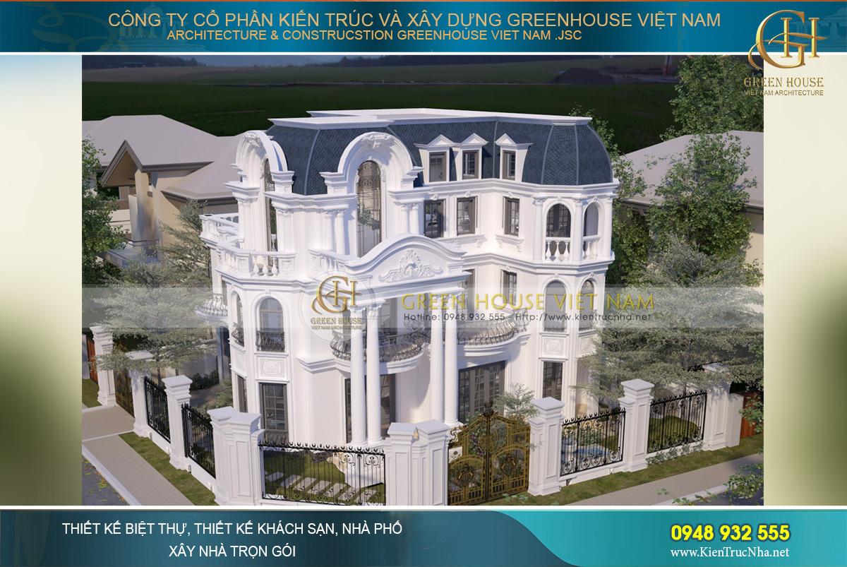 thiết kế biệt thự tân cổ điển 3 tầng tại Bình Dương