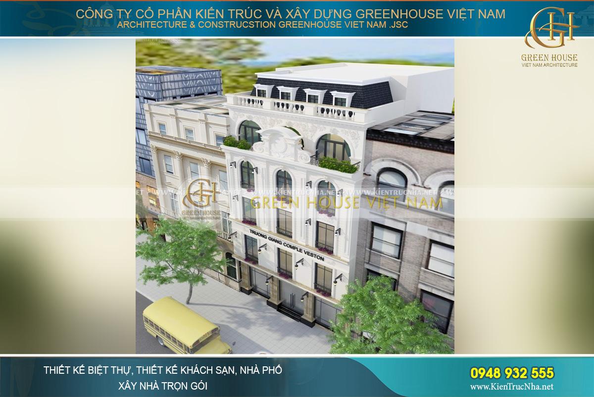 thiết kế biệt thự phố tân cổ điển kết hợp kinh doanh tại hà nội