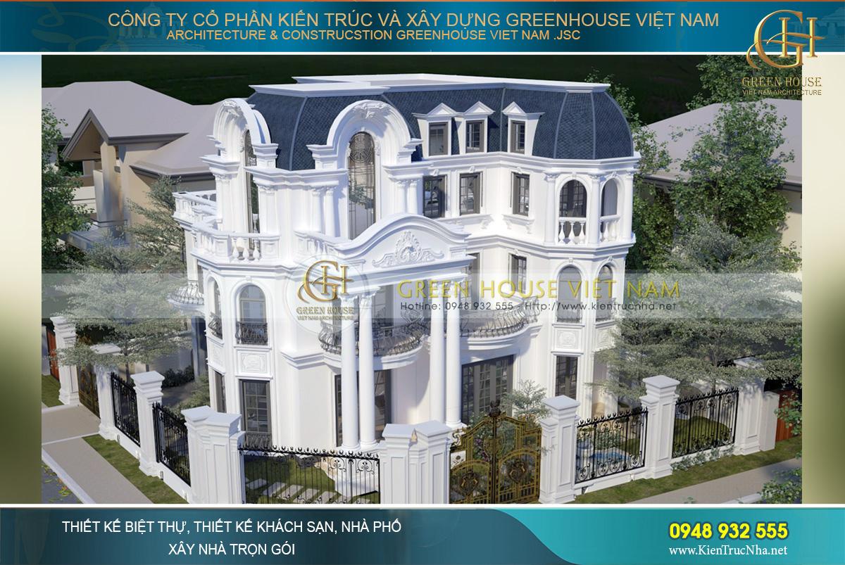 thiết kế biệt thự tân cổ điển mái mansard tại hà nội