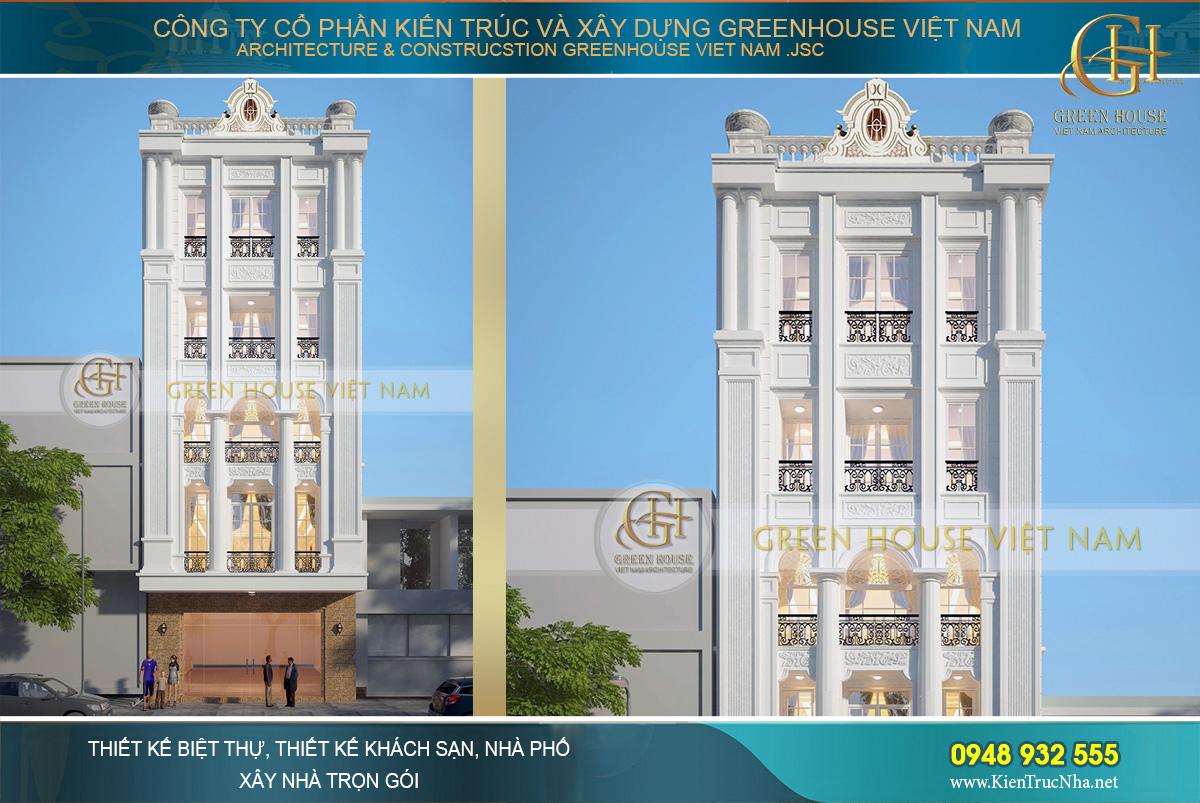 thiết kế biệt thự tan cổ điển 5 tầng tại Hà Nội
