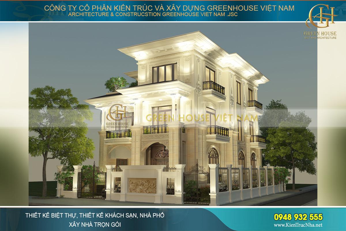 thiết kế biệt thự tân cổ điển mái bằng 3 tầng tại sài gòn