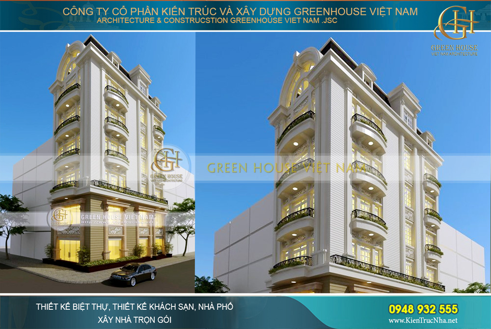 thiết kế nhà phố giả biệt thự tân cổ điển tại Hà Nội