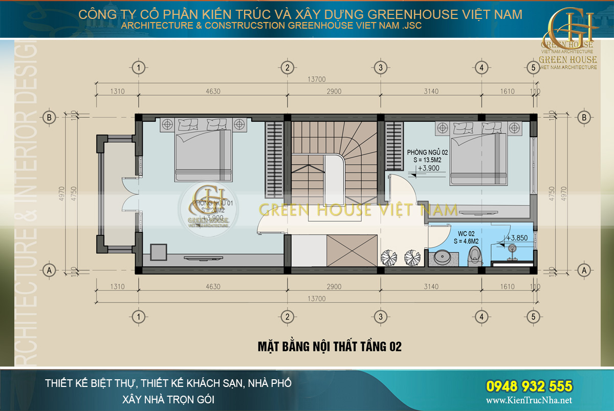 thiết kế nội thất nhà phố hiện đại 3 tầng tại hà nội