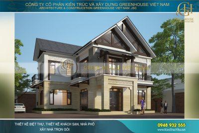 thiết kế biệt thự Á Đông 2 tầng tại Bắc Giang