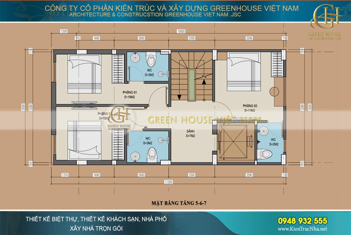 thiết kế khách sạn tân cổ điển 8 tầng tại hà Nội