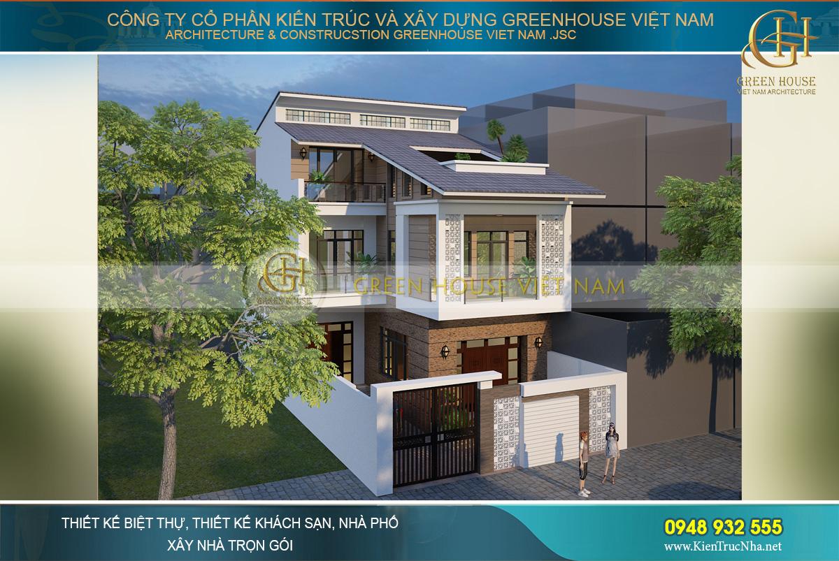 thiết kế nhà phố hiện đại 3 tầng tại bắc giang