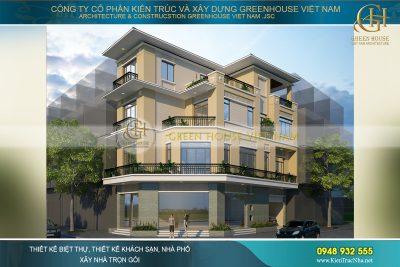 thiết kế nhà phố hiện đại 3 mặt tiền