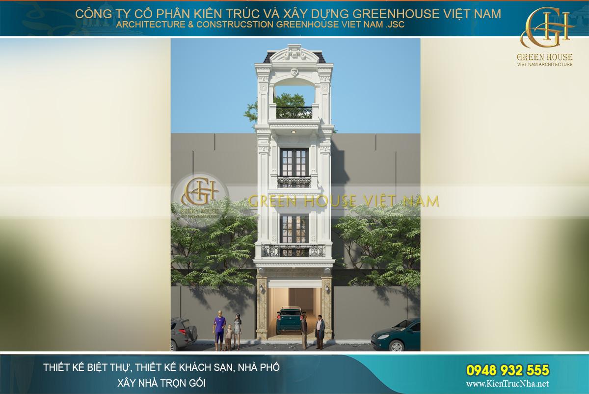 thiết kế nhà phố tân cổ điển 3 tầng tại Hà Nội