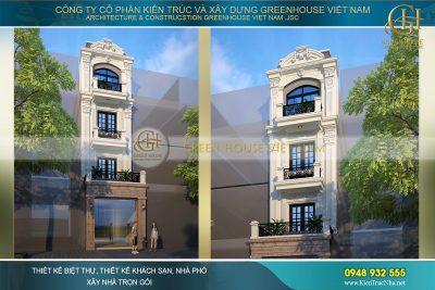thiết kế nhà phố kết hợp kinh doanh tân cổ điển