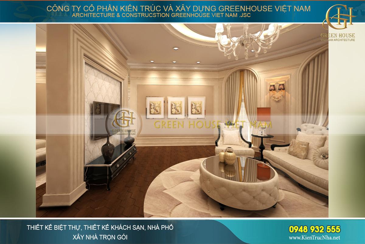 thiết kế nội thất dinh thự cổ điển 4 tầng Rạng Đông