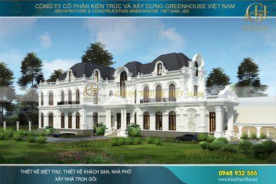 thiết kế biệt thự tân cổ điển có sân vườn đẹp