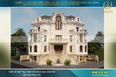thiết kế biệt thự cổ điển mái mansard