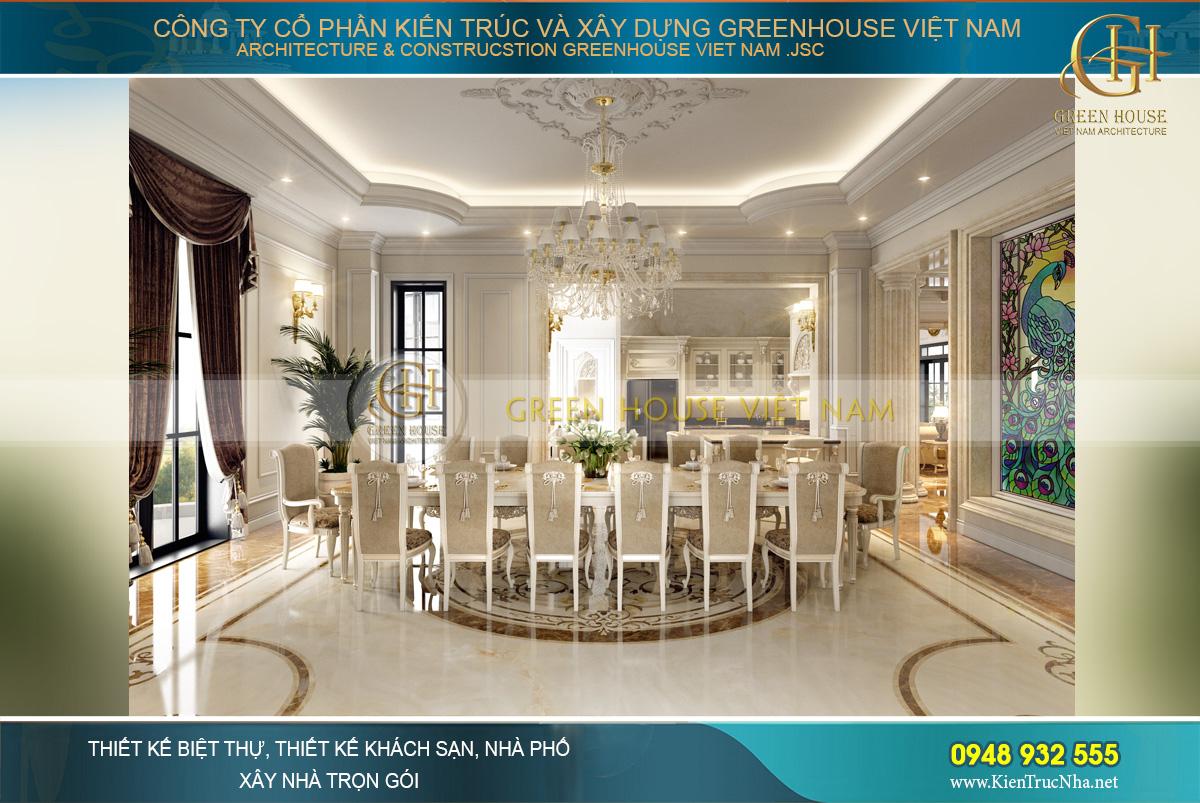 thiết kế nội thất dinh thự cổ điển 4 tầng