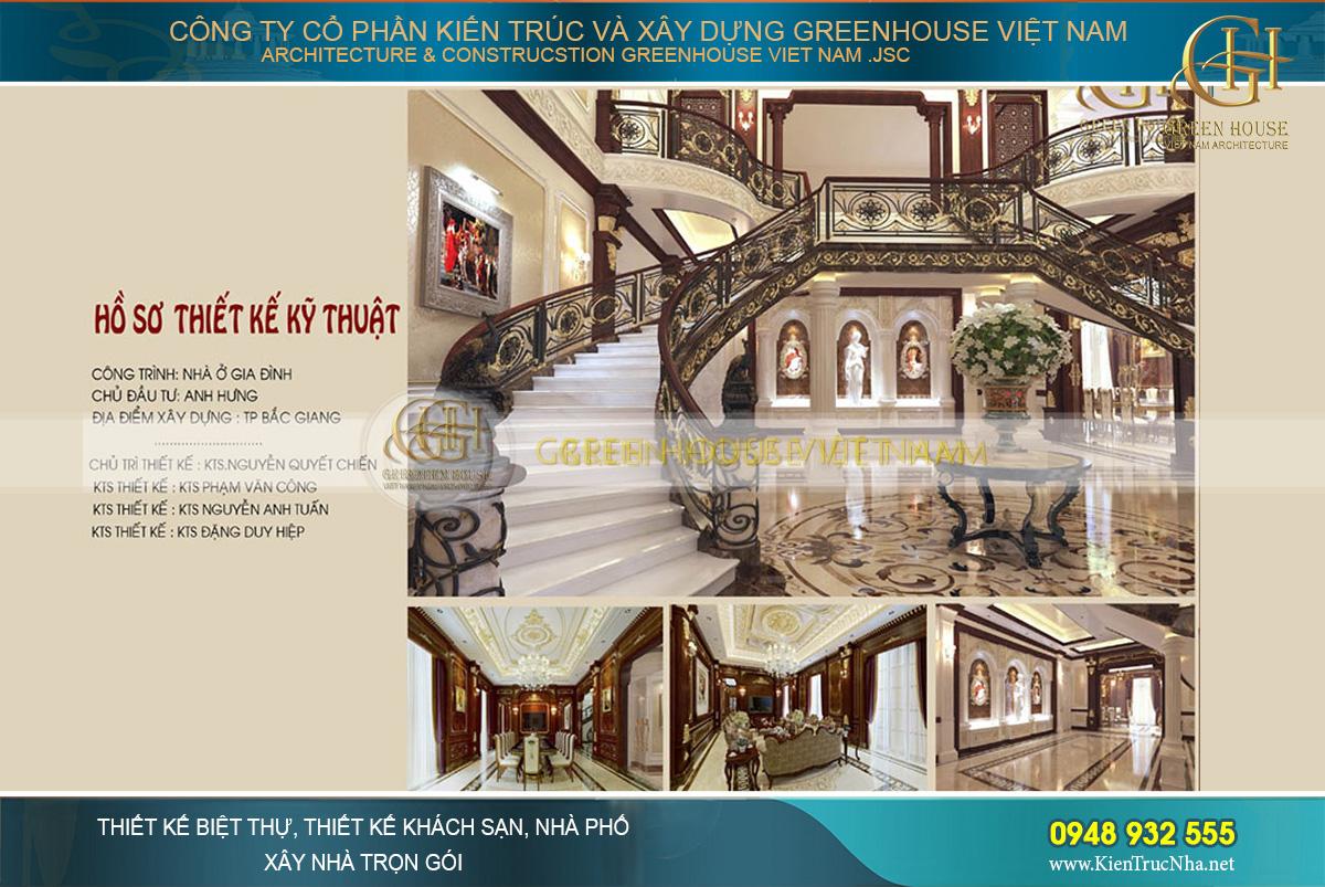 thiết kế nội thất biệt thự tân cổ điển bắc giang