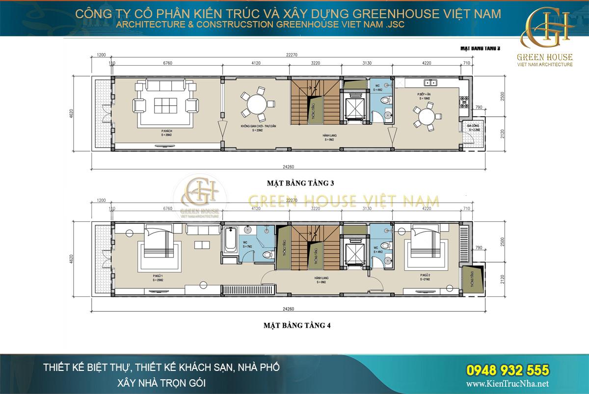 thiết kế nhà ở kết hợp kinh doanh hiện đại 6 tầng