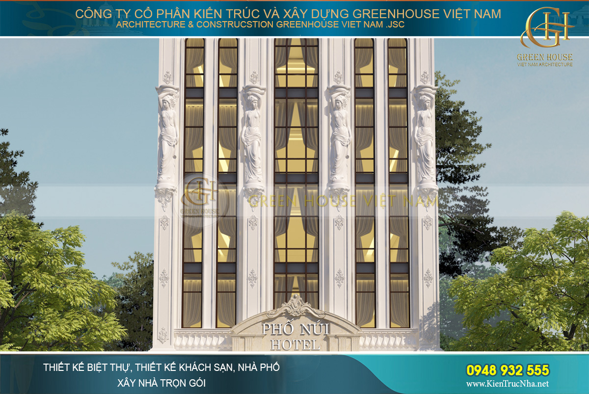 thiết kế nhà nghỉ 5 tầng tân cổ điển lai châu
